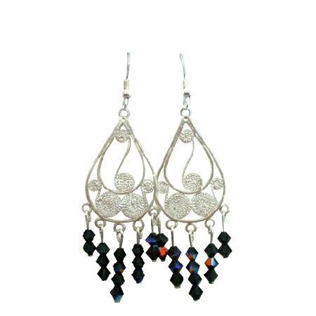 ERC172  Black Crystals Chandelier w/ Genuine Sterling Silver 92.5 Frame Earrings