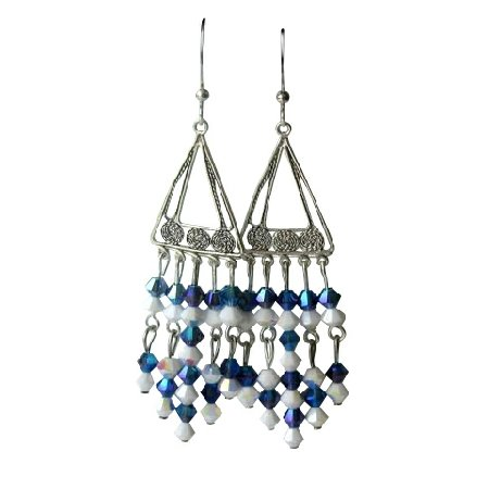 ERC167  Handcrafted Earrings Genuine Swarovski Crystals & Sterling Silver