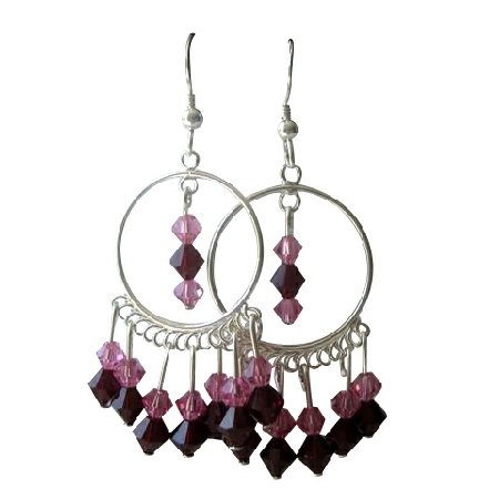 ERC135  Genuine Swarovski Rose & Garnet Crystals w/ Sterling Silver 92.5 Chandelier