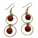 UER486  Circle Ring Coral Dangling Coral Beads Earrings
