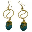 UER488  Gold Metal Wire Rings Dangling Flat Turquoise Teardrop Bead Earrings