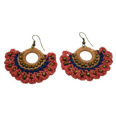 UER512  Hippie Chic Crochet Fan Shaped Earrings Combo Pink Blue And Champagne Color