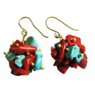 UER530  Turquoise Coral Nugget Brass Beads Brass Hook Earrings