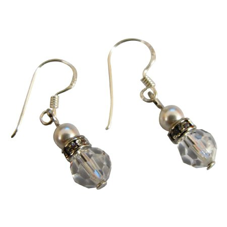 UER534  Bridemaids Beautiful Pair Of Earrings Swarovski Pearls Crystals Earrings