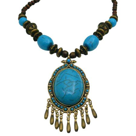 N950  Wooden Beads Necklace Ethnic Tribal Turquoise Coated Dangling Necklace