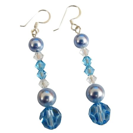 ERC718  Blue Clear Combo Swarovski Crystals Prom Earrings