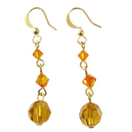 ERC723  Fashionable Glittering Orange Genuine Swarovski Crystals Earrings
