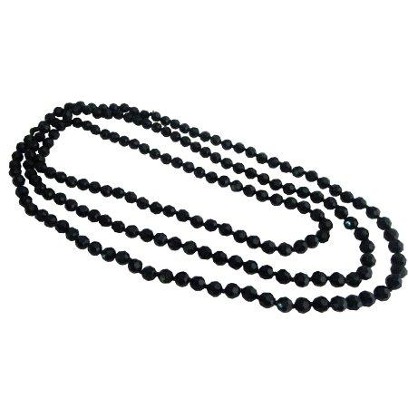 UNE333  Fancy Fashionable Black Multifaceted Long Necklace