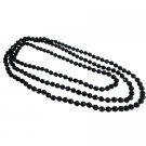 UNE333  Fancy Fashionable Black Multifaceted Long Necklace