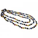 UNE336  MultiColored Beads With Gold Beads Spacer 88 Inches Long Necklace