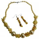 NS1044  Gift Yellow Pearls W/ Nugget Chips Necklace Set