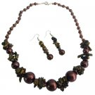 NS1046  GORGEOUS Burnt Brown Pearls Nugget Set Bridemaid Jewelry