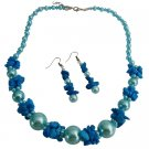 NS1047  Magnificent Blue Pearls With Turquoise Unique Class Wear Jewelry