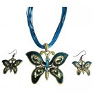 NS1031  Ethnic Aquamarine Rhinestone Blue Green Butterfly Jewelry Set