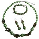 NS1068  Wedding Beautiful Olive Pearls Olive Nugget Necklace Set
