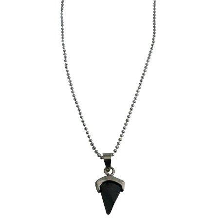 UNE313  Black Pendant With Dainty Rhodium Chain Prism Shape Necklace