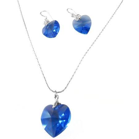 NSC519  Sapphire Heart Romantic Necklace Set Genuine Swarovski Lite Sapphire Heart Crystals