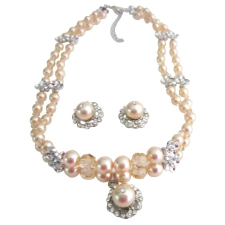 NSC201  Genuine Swarovski Peach Crystals & Peach Pearls Handcrafted Custom Jewelry Necklace