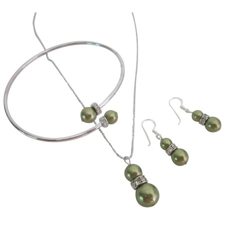 BRD1082  Budget-Priced Bridemaids Green Dress Jewelry With Rhinestones Rings