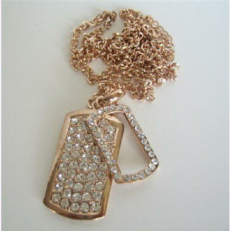 HH093  Copper Double Dog Tag Hip Hop Necklace Ice Shimmering w/ CZ 28 Inches