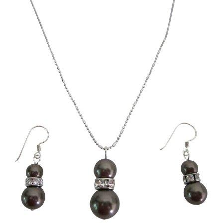 NSC806  Fine Jewelry Sterling Silver Earrings Brown Pearls Pendant Necklace