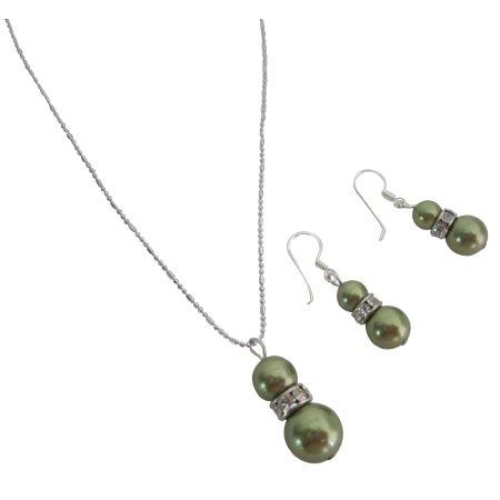NSC816  Stunning Swarovski Green Pearls Customize Wedding Jewelry