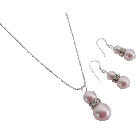 NSC824  Attractive Price Allure Rose Pearls Pendant Necklace Earrings Set