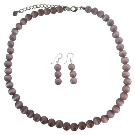 NS468  Purple Cats Eye Stone 6mm Bead Necklace Set w/ Sterling Silver Earrings