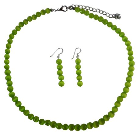 NS470  Green Cat Eye Jewelry 6mm Green Cat Eye Beaded Necklace & Sterling Silver Earrings Set
