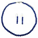 NS471  6mm Cat Eye Necklace Set Royal Blue Sterling Silver Necklace Set Handmade Beaded Jewelry