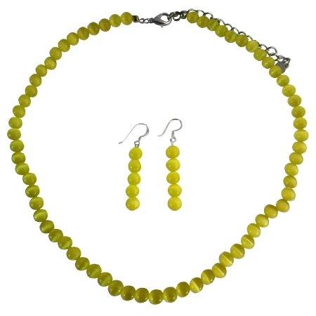 NS388  Elegant Gold Cat Eye Necklace w/ Sterling Silver Earrings Custom Jewelry