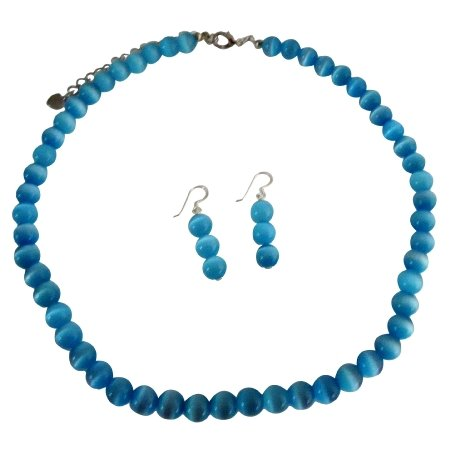 NS393  Beautiful Blue Jewelry Blue Cat Eye Necklace w/ Sterling Silver Earrings Custom Jewelry
