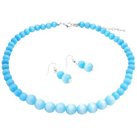 NS368  Sterling Silver Genuine Beautiful Turquoise Cat Eye 8mm 12mm Necklace & Earrings
