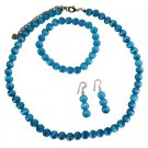 NS394  Soothing Blue Cat Eye Necklace Stretchable Bracelet & Sterling Earrings Custom Jewelry