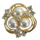 B591  Beautiful Flower Crystals & Pearls Bridal Brooch