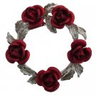 B595  Red Rose Silver Tone Wreath Brooch