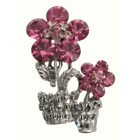 B611  Magnificent Pink Crystals Rose Vase Brooch