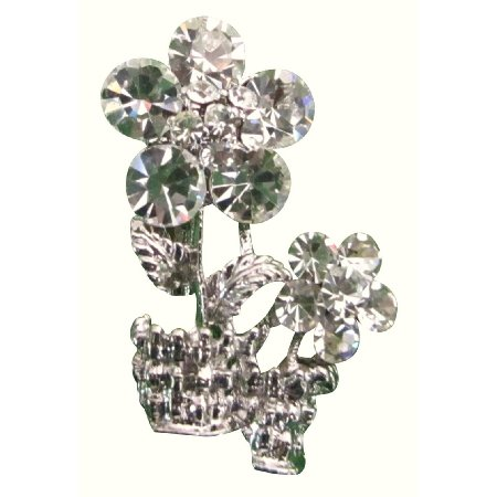 B610  Classy Vase Brooch Sparkling Dazzling Crystals