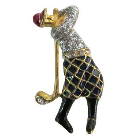 B599  Golf Lady Vintage Brooch Figural Glitter Brooch