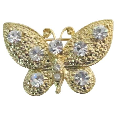 B605  Breathtaking Brooch Golden Butterfly With Clear Crystals