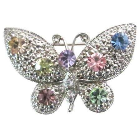 B604  Vintage Multicolor Rhinestones Butterfly Brooch