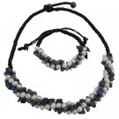 NS1079  Bridal Destination Wedding Honeymoon Jewelry Lapis Nuggets Freshwater Pearls