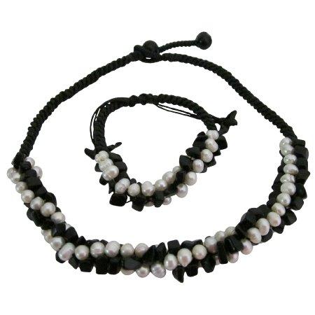 NS1081  Bridal Bridesmaids Jewelry Onyx Freshwater Necklace Bracelet