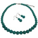 NS1082  Affordable Designer Green Turquoise Round Beads Necklace Sets