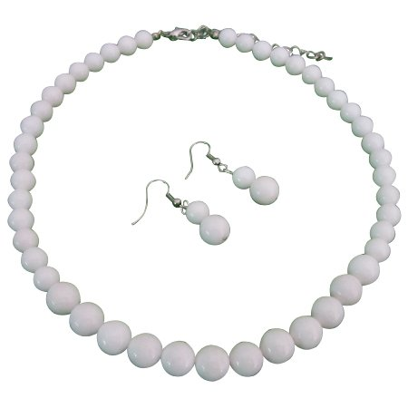 NS1083  Fab Looks The Hottest Style Chalk White Round Beads Jewelry