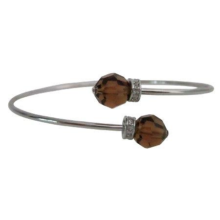 TB1034  Crafted Swarovski Smoked Topaz Cuff Bracelet