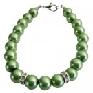 UBR259  Bridal Party Low Prices Jewelry Green Color Pearls Bracelets