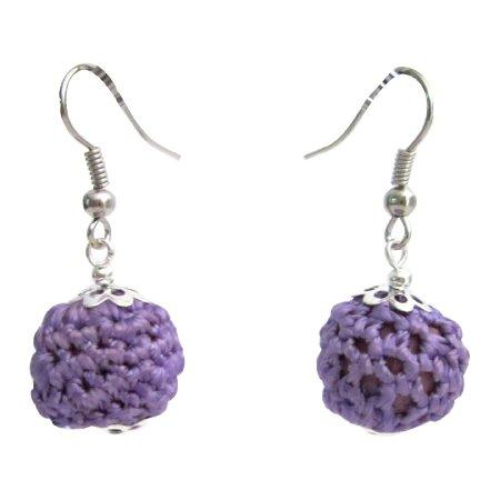 UER577  Cute Crochet Earrings Purple Crochet Bead Earrings