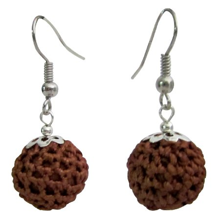 UER579  Crochet Round Brown Earrings Perfect Gift