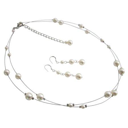 BRD1110  Elegant Most Sleek Wedding Jewelry Set In Ivory Pearls